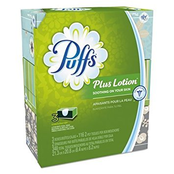- Puffs Puffs Plus Lotion Facial tissues, 3 Family Boxes, 116 tissues per Box, 348 Count