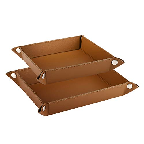 Luxspire Valet Tray, PU Leather Tray, [2 PACK] Catchall Tray, Men Women Jewelry Key Tray, Desk Storage Plate for Key Coin Phone Jewelry Wallet, Small & Medium Size - Brown