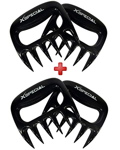 BBQ Meat Shredder 2 Pack By XSpecial Best Gadget for Pulled Pork, Carve, Serve, Handle & Lift > Large Pieces of Meat: Pork Brisket Chicken Turkey From Grill, Oven, BBQ, Pans (Individually Packaged) by XSpecial