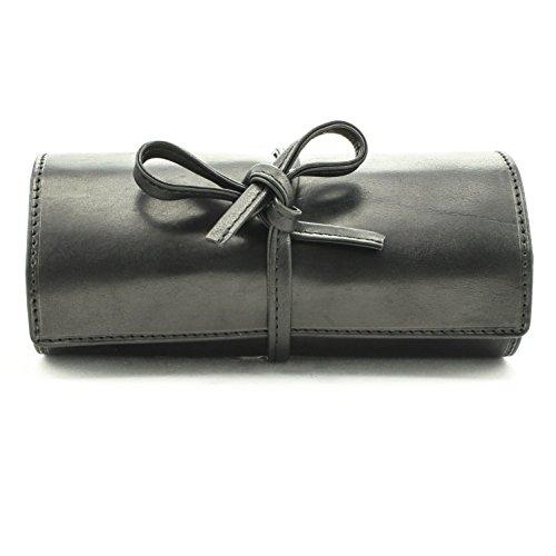 Italian Leather Tie Case (Tony Perotti Italian Cow Leather Premium Combination Jewelry Roll with Tie Closure, Black)