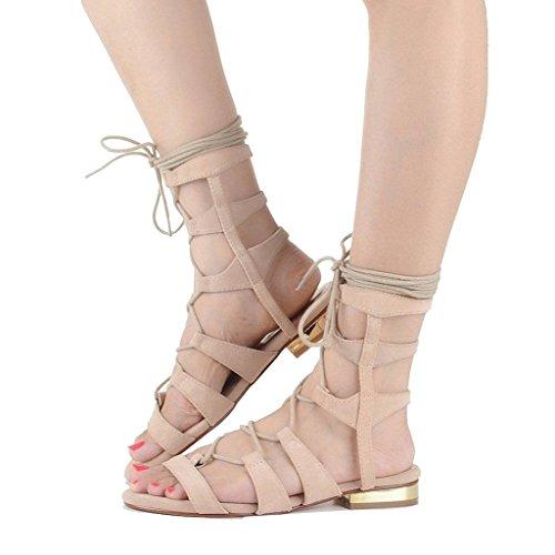 Kolnoo Damen Open Toe Lace Up Schuhe Knöchelriemen Roman Gladiator Flach Sandalen Beige