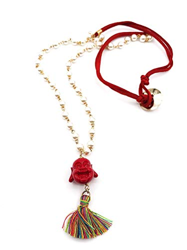 Happy Buddha Pendant Long Necklace Simulated Pearl Beads Chain 25