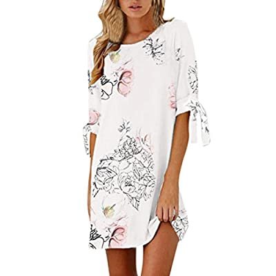 MEYYA Women Summer Half Sleeve Bow Bandage Floral Striaght Short Mini Dress