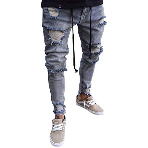 Style Sportivi Slim Size Da color Casual Jogging 2 Uomo Pantaloni Elasticizzati Jeans 4 M Fit Strappati Mallty BxFq4Y