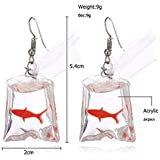 MIXIA Colorful Resin Starfish Goldfish Flower Bag Earrings for Women Anti Allergy Graceful Joker Funny Earring Water Pouch Jewelry (Red Goldfish)