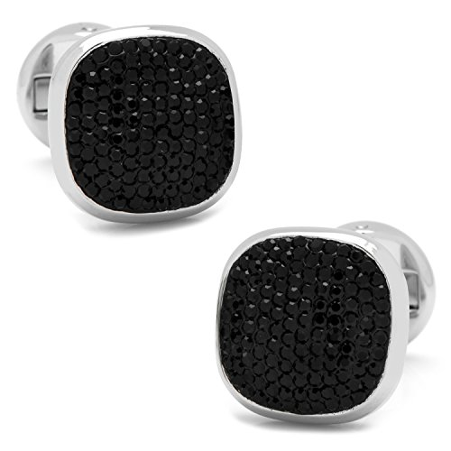 Ox and Bull Trading Co. Stainless Steel Black Pave Crystal - Pave Crystal Cufflinks