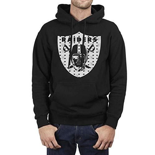 Mens Fleece Warm Long Sleeve Novelty Hoodie Sweatshirt Kangaroo Pocket Pullover (Raiders Cap Draft)