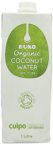 Buko Organic Coconut Water 100% Pure not from concentrate 1000ml (Pack of 6) by Buko