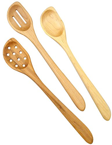 l Hard Maple Wood Angled Cooking and Mixing Spoons, Set of 3 ()