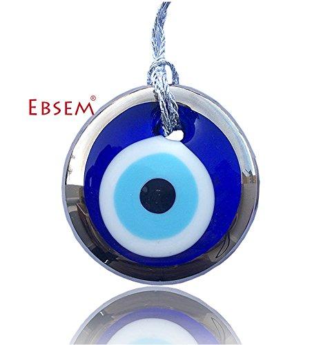 - Silver Gilt Handmade Evil Eye Glass Charm Decorative Ornament (1.5 inches)