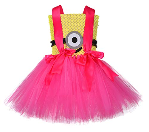 SanLai Halloween Minion Costume Tutu Dress for Girls Birthday Princess Dress Up for Toddlers with Headband 3T 4T]()