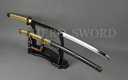 Traditional Handmade Japanese 98 Saber Combat Ready Full Tang Samurai Katana Sword Sharpened Tachi,T1095 High Carbon Steel,Damascus Folded Steel
