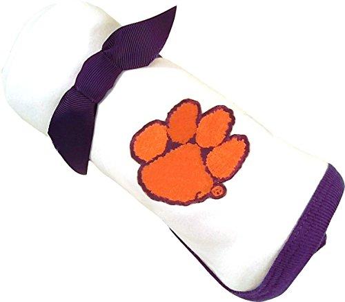 Future Tailgater Clemson Tiger Baby Receiving Blanket - Purple Trim