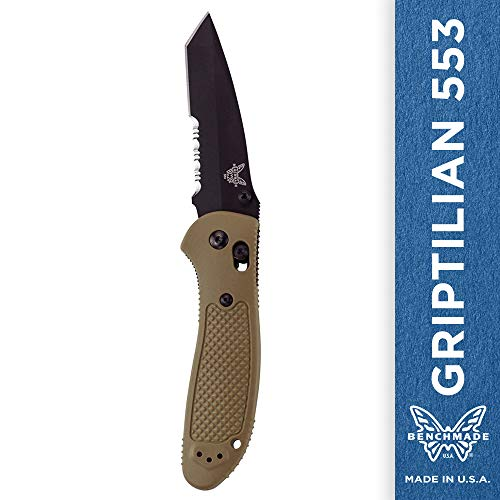 (Benchmade - Griptilian 553 Knife with CPM-S30V Steel, Tanto Blade, Serrated Edge, Coated Finish, Sand Handle)