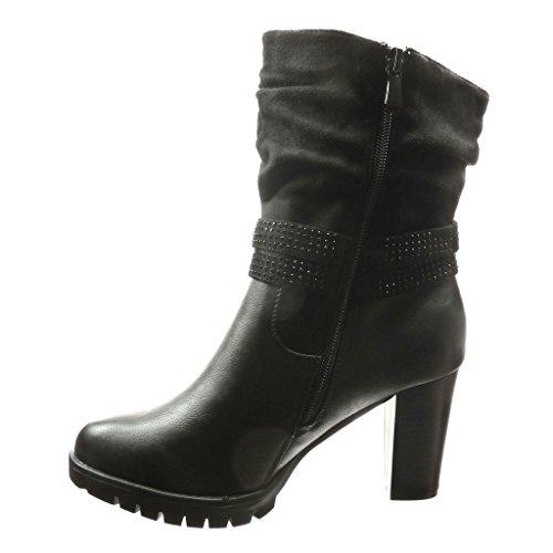 Angkorly - damen Schuhe Stiefeletten - Flexible - Combat Boots - Schleife - Strass - metallisch Blockabsatz high heel 8 CM - Schwarz