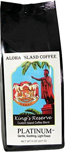 PLATINUM Light Roast, Kings Reserve Kona Hawaiian Coffee Blend, 8 Oz Ground
