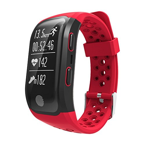 MeiLiio Smart Bluetooth Watch,Heart Rate Activity TrackerWristband Men Bracelet IP68 Waterproof GPS Call Reminder Bracelet Tracker Watch for Android Samsung s9 Plus & IOS Apple iPhone X (Red)