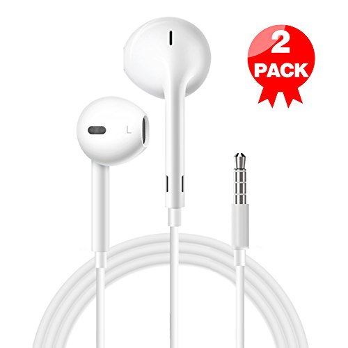 Earphones with Microphone (2 Pack) Premium Earbuds Stereo Headphones and Noise Isolating headset Made for Apple iPhone iPod iPad Samsung Galaxy LG HTC - White … (white) Iphone Earbud Headphones