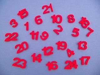6 Sets of Red Felt Advent Calendar Craft Numbers (Plus Spares)