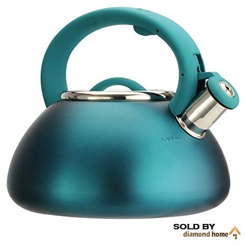 Cute Stylish Teal Tea Kettle Aqua Dark Blue, Pretty & Beautiful Sleek Design, Stovetop Hot Water Pot for Tea, Coffee, Soups, Whistling Stainless Steel