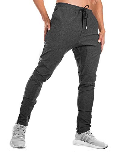 Rdruko Men's Tapered Sports Joggers Pants Athletic Sweatpants Gym Workout Running Pants Slim Fit with Ankle Zippers
