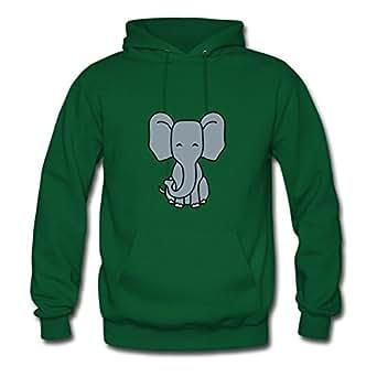 Women Cute Sitting Elephant Child Sweatshirts -x-large Creative Image Green