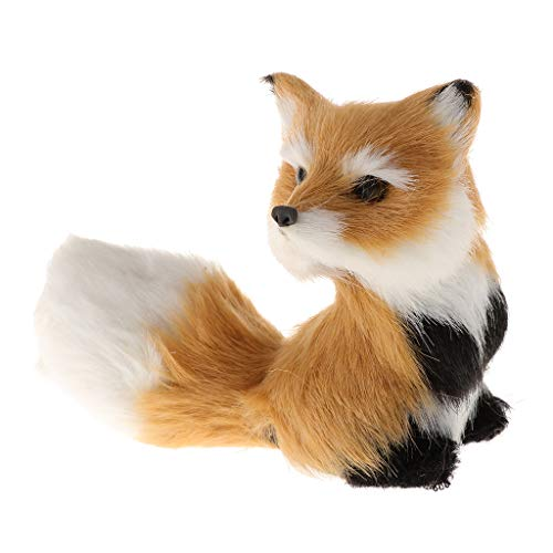 LOVIVER 1Piece of Little Animal Figurine Artifical Furry Toy kit Home Ornaments High Simulated Sitting for Boys and Girls Learning Animal Model
