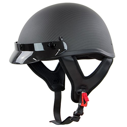 Outlaw T71-Carbon Flat Black Carbon-Fiber Ultra-Light Motorcycle Helmet - Medium
