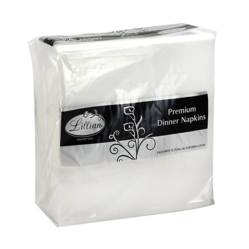 Lillian Tablesettings Premium White Napkins, Large Dinner Napkin, 3 Ply Paper White, 75 count 3 Ply Paper Napkin