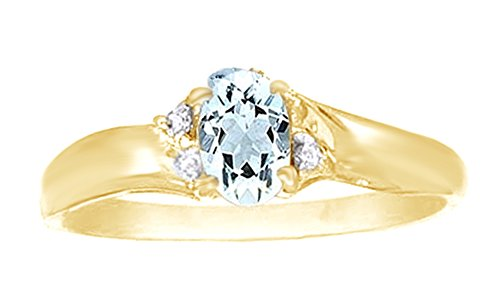 (Jewel Zone US Simulated Aquamarine & White Natural Diamond Solitaire Engagement Ring in 10k Solid Gold (0.5 Cttw))
