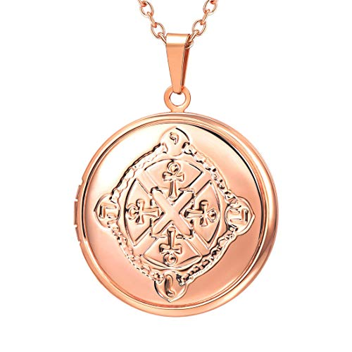 U7 Locket Necklace That Holds Picture Wedding for Bride Girlfriend Rose Gold Round Photo Locket Pendant with Antique Egyptian Ankh Cross Design ()