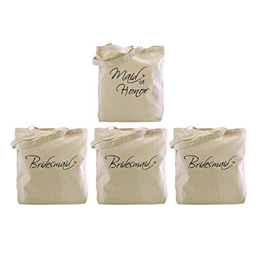 ElegantPark La bolsa de asas de la dama de honor, la bolsa de asas de la criada del honor Set para las favores de la boda de las mujeres La fiesta de las gallinas hace la lona 100% del algodón Maid of Honor + Bridesmaid x 3