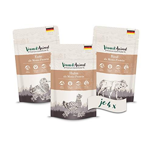 Venandi Animal Premium Nassfutter für Katzen, Probierpaket I, Huhn, Ente, Rind, 12 x 125 g, getreidefrei und…