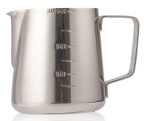 Teemall 12oz Stainless Steel Frothing Pitcher - Measurements on Both Sides