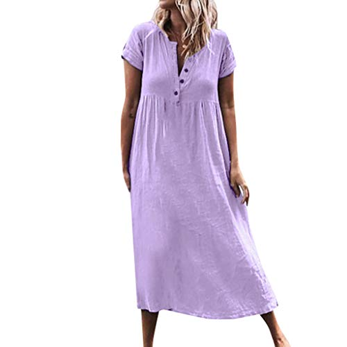 TOPUNDER Women Casual Solid V-Neckline Roll Up The Sleeve Dress Splice Button Dress Purple