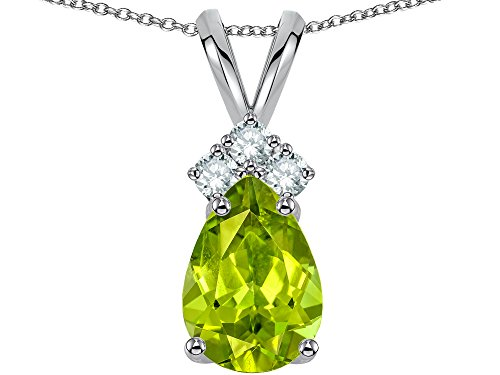 Star K Pear Shape 8x6mm Genuine Peridot Rabbit Ear Pendant Necklace 10 kt White -