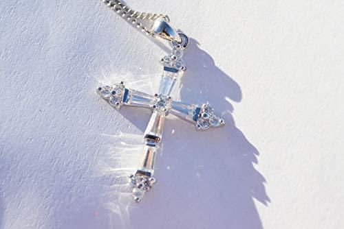 New 0.25' Pendant - New Rodium Plated CZ Cubic Zirconia Cross Necklace 18'' Pendant LT-610