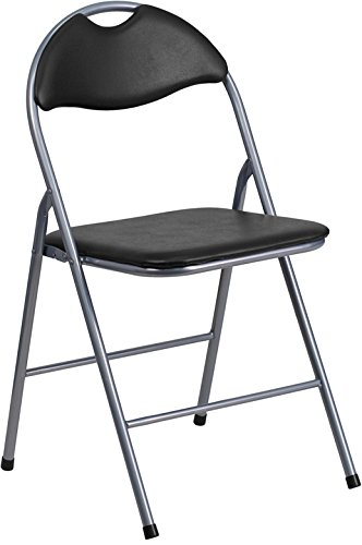 Flash Furniture HERCULES Series Black Vinyl Metal Folding Chair with Carrying Handle by Flash Furniture
