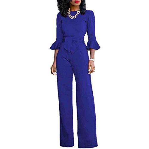 Womens Solid 3/4 Ruffle Sleeve High Waist Wide Leg Jumpsuit Pants Clubwear Blue S