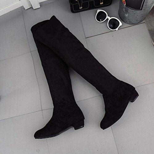 Flat Shoes Boots TM DEESEE Suede Black High Autumn Winter Long Short Boots Leg Women BxYTZqYI