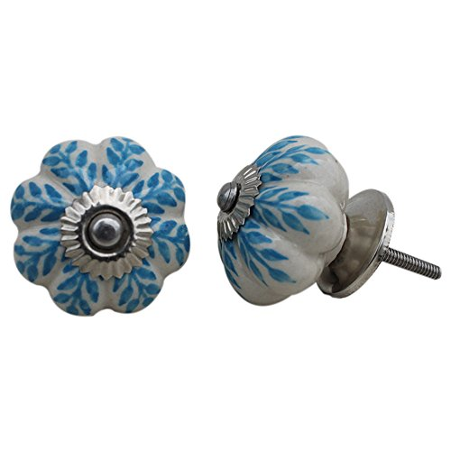 Set of 2 Pieces Turquoise Leaf Floral Ceramic White Cabinet Knobs Furniture Handle Drawer Pull Vintage Designer ()