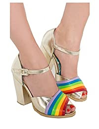 Iron Fist Womens Over It Gold Rainbow Heeled Shoes