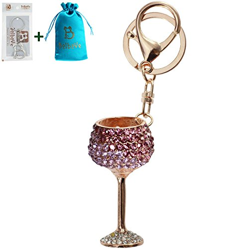 Diamond Purse Charm (Bolbove Red/White Wine Glasses Shape Keychain Keyring Blingbling Crystal Rhinestones Purse Pendant Handbag Charm (Purple))