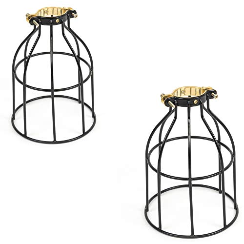 Rustic State Set of 2 Industrial Vintage Style | DIY Farmhouse Metal Wire Cage for Hanging Pendant Lighting | Light Fixture Lamp Guard | Rare Curved Design Black (Cage Pendant Wire)