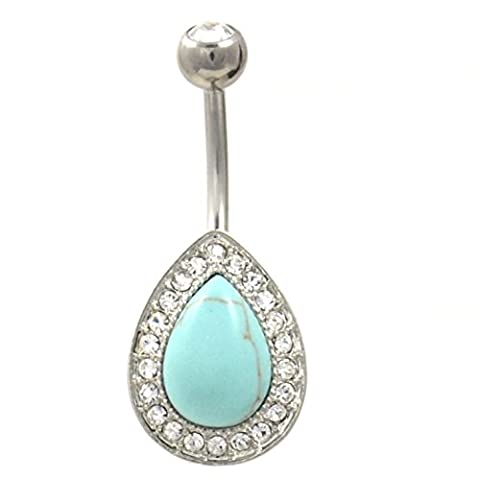 Clear CZ Gem Paved Synthetic Turquoise Tear Drop Navel Piercing Belly Ring - Turquoise Tear