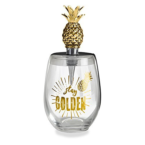 (Wild Eye Stay Golden Pineapple Stemless Wine Glass & Stopper Set)