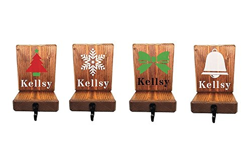 Personalized Wood Stocking Holder for Mantle or shelf, large hook to hang Christmas stockings, multiple designs and color options (Personalized Stocking Holders)