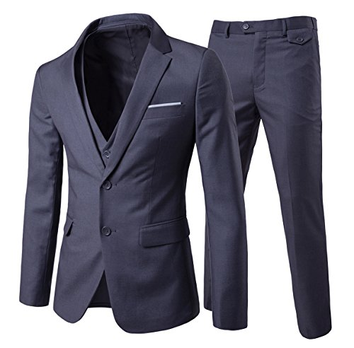 Men's Modern Fit 3-Piece Suit Blazer Jacket Tux Vest & Trousers, Dark Grey ()