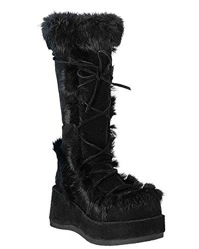 Demonia 2 3/4 Inch Platform Knee Boots Black Suede Fleece Cuff Gothic Size: 11 -