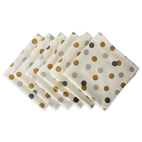 DII 100% Cotton, Machine Washable, Printed Metallic 20x20 Napkin Set of 6, Metallic Confetti